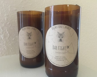 Bar Fight Upcycled Beer Bottle Candle (Any Scent)