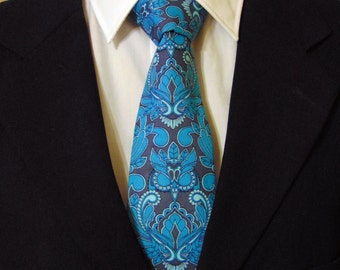 Blue Paisley Tie – Cotton Owl Tie for Men in Blue and Grey Paisley Motif
