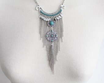 Silver long chain necklace of ethnic