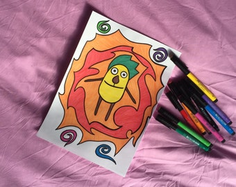 """A4-sized Artwork - """"Patata surrounded by Fire."""""""