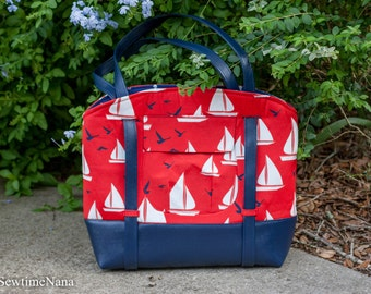 Large beach bag, tote, Swoon Sophia bag, Nautical bag
