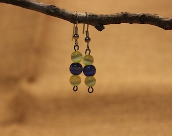 Yellow and blue cats eye earrings
