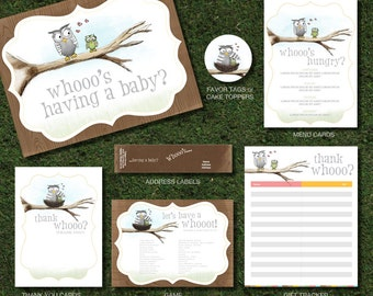 Owl Baby Shower Printable Party Package, Story Book Inspired Design