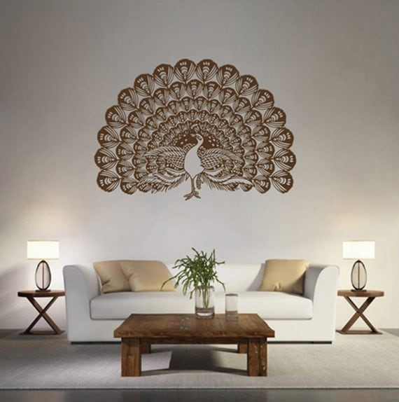 kik1635 wall decal sticker indian peacock bird abstract room bedroom