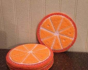 Hand-stitched felt coasters