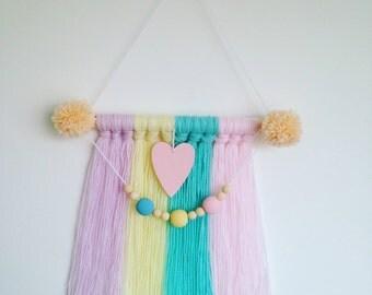 Pastel Wooden Bead Wall Hanging/ Nursery Decor