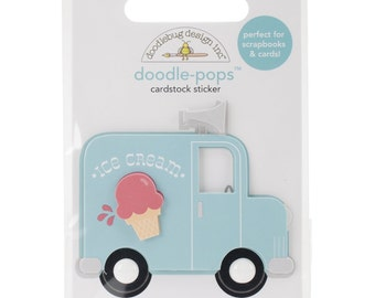 Sunkissed Doodle-Pops Embellished 3-D Stickers-Ice Cream Truck  NM-SUMDP-4567