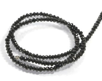 "Superb quality Natural Black Diamond, 3.2 to 3.8 mm, 39.31 ct, faceted rondelle beads, 15.7"" Strand, Genuine Drilled Diamonds, AAA"