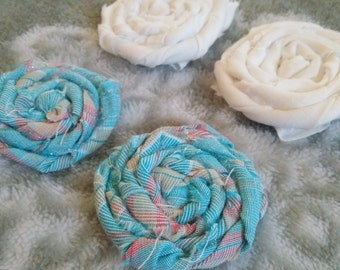 Set of Two Fabric Flower Hair Clips