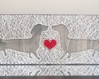 For the Love of Dachshunds 17x7 String Art