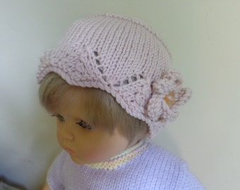 Beautiful hand-knitted hat for a baby up to 6 months