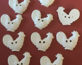 Set 10 White Rooster or Chicken Shape Vintage plastic buttons crafts sewing etc