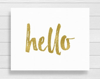 Printable Art Hello Gold and White Welcome Print Hello Printable Art Apartment Wall Art Hello Sign Instant Digital Download