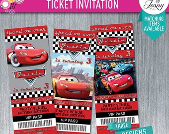 DISNEY CARS theme TICKET style birthday invitation - Made to Order