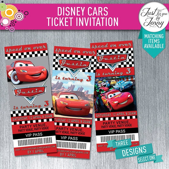 DISNEY CARS theme TICKET style birthday invitation Made to – Ticket Style Birthday Invitations