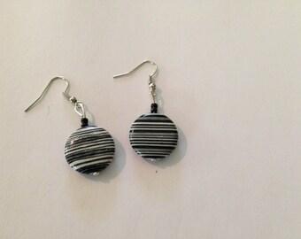 Zebra striped howlite dangling pierced earrings