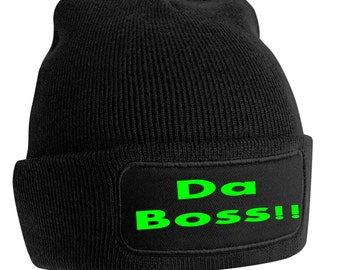 Da Boss Printed Beanie Woolly Hip Hop Hat