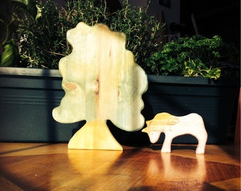 Unicorn & tree. Waldorf Wooden toy.