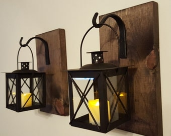 Lantern Pair with wrought iron hooks, rustic wood boards, rustic home decor, wall decor, bedroom decor, sconces