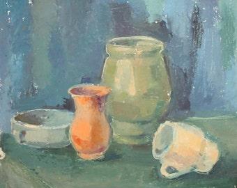 Impressionist still life cups vases vintage oil painting