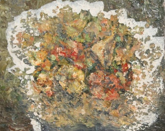 Antique floral oil painting impressionism signed