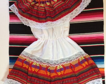 Little girl off shoulder traditional Mexican dress, size 6.