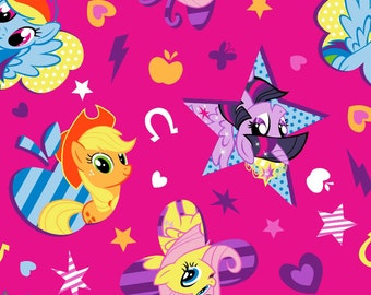 Hasbro MY LITTLE PONY Cutie Toss cotton fabric from Springs Creative licensed, woven cotton, pink, mlp characters, licensed