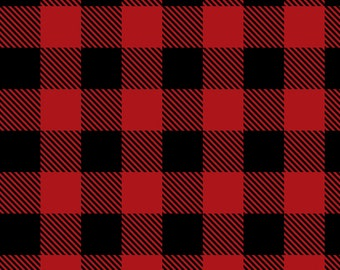 Red Buffalo Plaid Flannel from Camelot Fabrics, Cotton, Fabric, rag quilt, black, by the, metre, yard, lumberjack, 1 inch squares, 1""