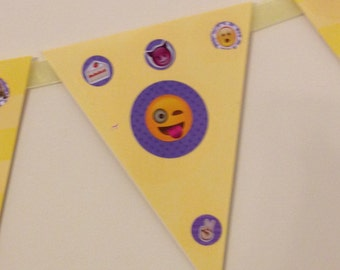 emoji birthday banner decorations party teens girls flags handmade sign