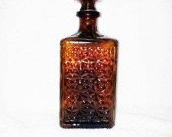 Rare Vintage Amber Liquor Decanter with Stopper