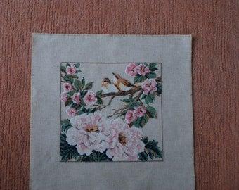 Cross stitch Embroidery handmade Home decor textile Framed