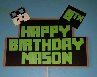 Personalized inspired Happy Birthday cake topper with Dantdm face, Stampy or your favorite character