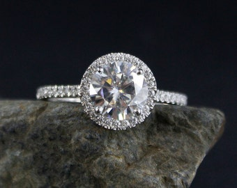Forever One Moissanite Diamond Halo Engagement Ring - Halo Diamond Ring - Choose Setting