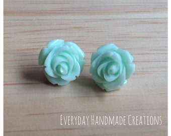 Rose Earrings - 15mm - Studs - Resin - Mint Green - EHC1005