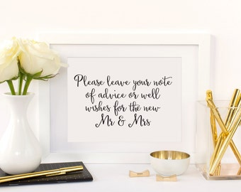 Advice and Well Wishes Table Sign, Advice for the Bride and Groom Sign, Wedding Advice Sign, Wishes for the New Mr. and Mrs. Sign, WCS004