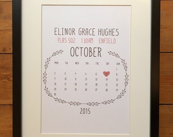 New baby personalised print - Perfect gift for new parents