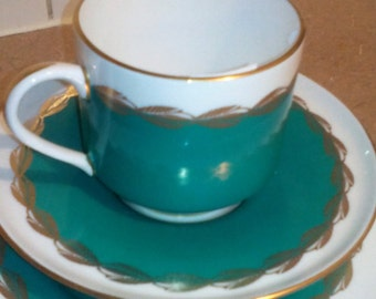 "REDUCED 30% - Emerald Green Teacup Set - Aynsley - ""Melody"""