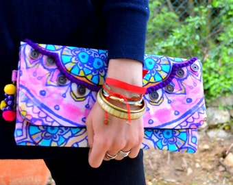 Pouch ethnic, Boho, Hippie, - the DIAPRASSA - colored decorated