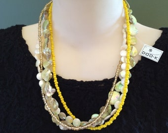 4 Strand Gold, Yellow, Brown & Beige Handmade Necklace