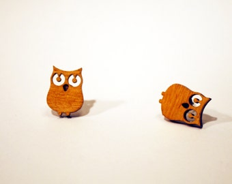 Owl earrings wood finish