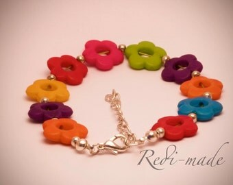 Bracelet - colourful flowers with silver spacers (#259477)