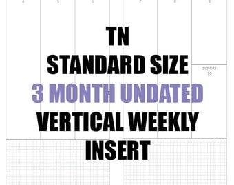 TN Standard Undated 3 month Insert: MO2P, Vertical WO2P w/graph paper, Habit Tracker, Online Order Tracking, Monthly Goals & Achievements