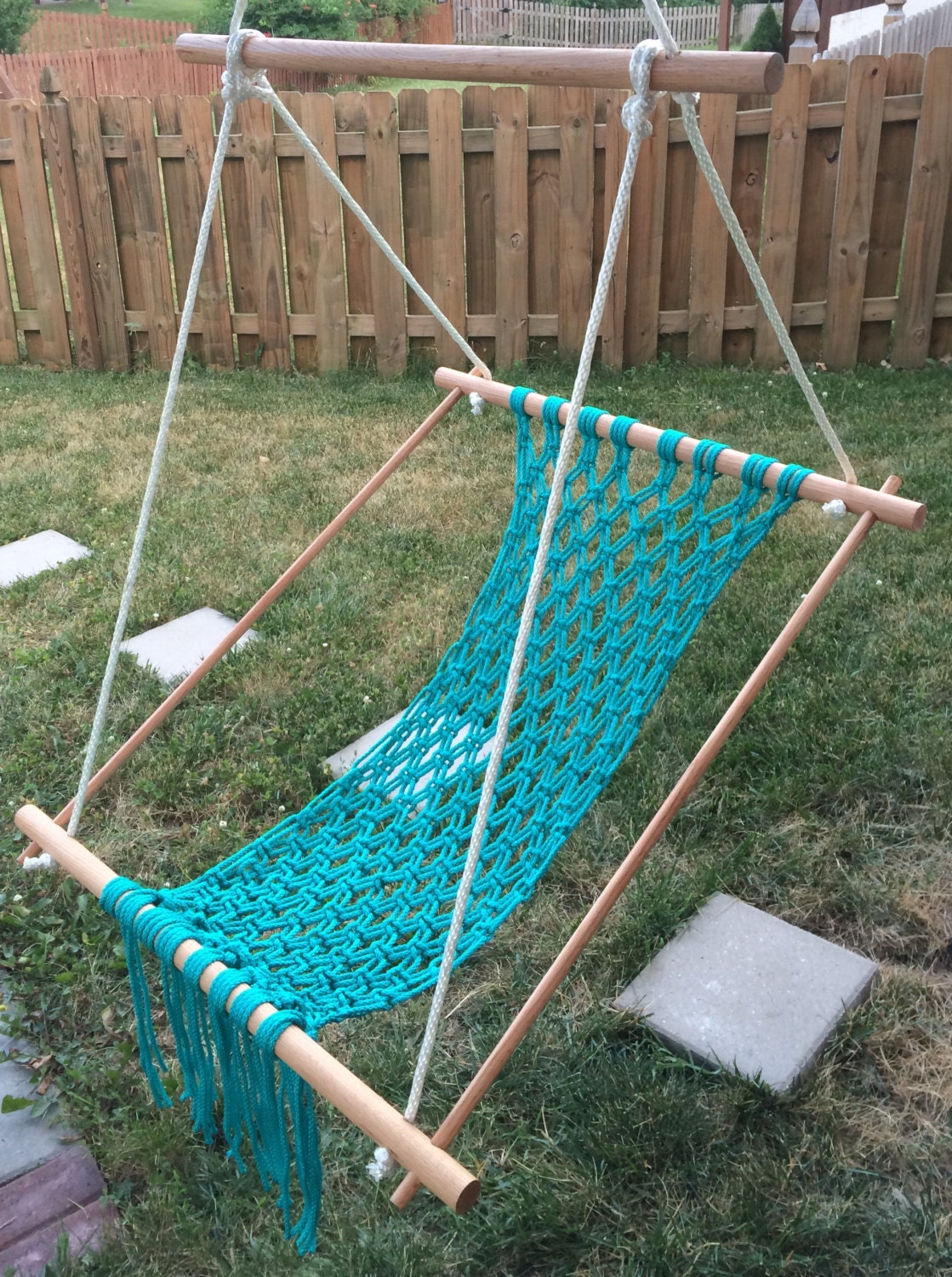 Macrame hammock chair swing turquoise for child teen or for Macrame hanging chair