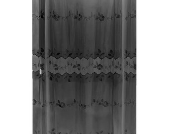 Lace Shower Curtain Victorian Black Embroidered 72 X 72   Renovators Supply