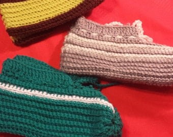 Crochet slippers available in all sizes and colours!