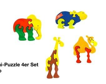 Mini Puzzle 4er set Zoo / Waldorf / Montessori / Wooden Toys / Animal World / Zoo/ Puzzle
