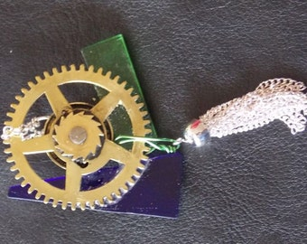 Brass Gear And glass & silver fall