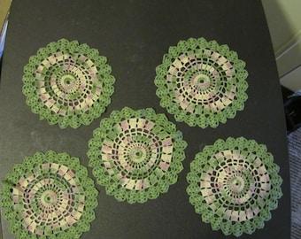 set of 5 crocheted round doilies rose garden