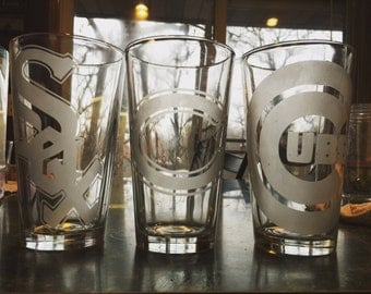 Etched Drinking Glass