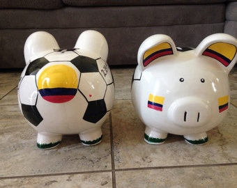 Custom Ceramic Piggy Bank- Sporty/Soccer